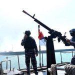 Tembakan Senjata Anti Serangan Udara Lantamal VI Berhasil Jatuhkan Dua Pesawat Tempur Musuh