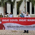 Program Gebrak Masker, Masyarakat Blang Bintang Terima Bantuan Masker Pemerintah Aceh