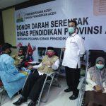 Aksi Donor Darah Keluarga Besar Dinas Pendidikan Se-Aceh Kumpulkan 362 Kantong Darah